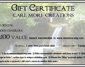 Gift Certificate - 100 Dollars - Care More Creations
