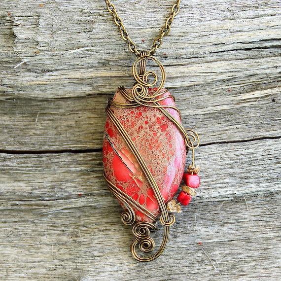 Sea Sediment Jasper Wire Wrapped Pendant - Coral Red Stone Necklace in Antique Bronze