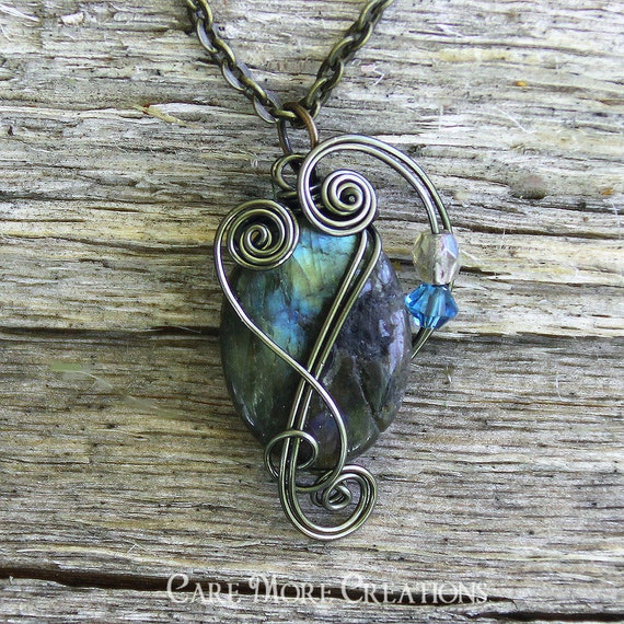 Labradorite Pendant - Iridescent Blue Wire Wrapped Necklace in Gunmetal