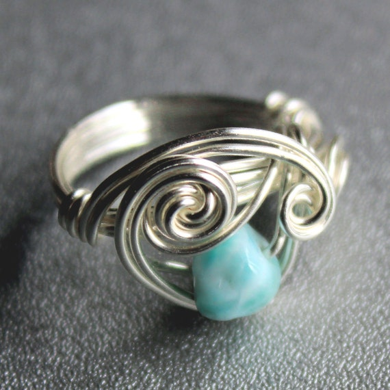Wire Wrapped Ring - Blue Larimar Ring in Silver - Size 7