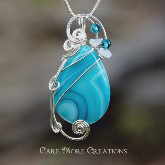 Blue Stripes Agate Wire Wrapped Pendant - Blue and White Necklace in Silver - Healing Stone
