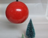 vintage 60s hanging pendant light red metal ball globe
