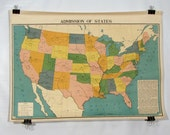 3ft x 4ft Vintage Industrial School US Wall Map printed in 1948 Double Sided 4 Color Lithography