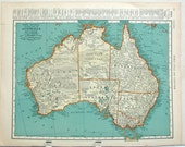 "Vintage Atlas Map 1930s 11 x 14"" map of the Australia and Oceania 1930s"