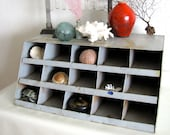 Industrial metal parts cabinet bin storage Cubby hole desk top workspace supply holder Curio display