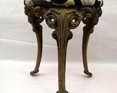Victorian piano stool Cast iron legs industrial home decor seating