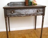 Vintage Industrial table desk with drawer 1920s all steel furniture
