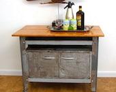 Vintage Industrial furniture rolling cart storage bar work table Bare steel Austin Modern