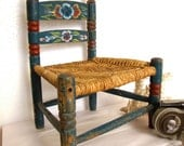 Vintage Handpainted and carved childs chair Mexico 1950s Mid Century Travel Souvenir