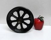 Vintage Industrial Pully Wheel Flywheel Black