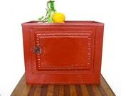 Vintage Pie Safe Red Pressed Tin storage box 1920s Primitive Americana Industrial Austin Modern