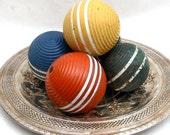 Vintage Set of Croquet Balls  Orange Blue Green Yellow and Black