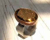 Titanium Druzy Ring Sterling Silver adjustable cabochon jewelry