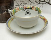 Art Deco Poison tea cup and saucer pretty floral Vintage altered plate Chase and Scout Cyanide