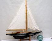 Vintage large sail boat Yacht Tall Ship Nautical Beach House home decor