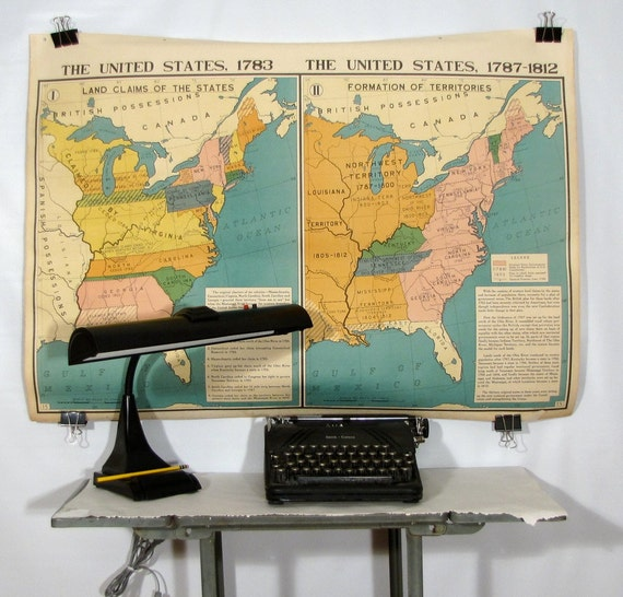 US Wall Map East coast USA 3ft x 4ft Vintage Industrial  Double Sided 4 Color Lithography