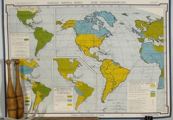 Vintage 1960s World Wall Map 3 x 4ft Industrial Denoyer Geppert Home Decor