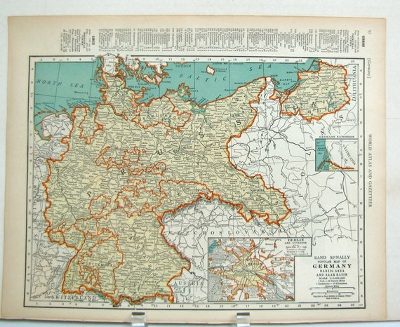 "Vintage Atlas Map 1930s 11 x 14"" map of Prussia Germany and Spain 1930s"