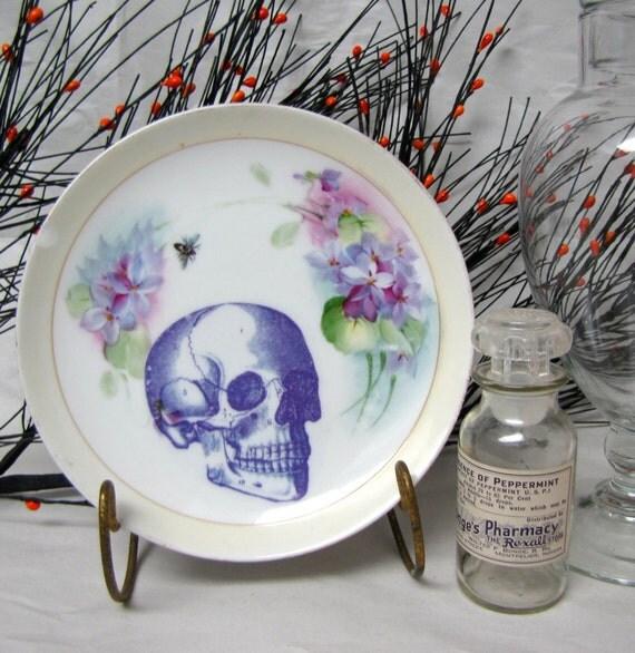 Vintage Skull Plate Victorian handpainted porcelain Violet and lilac OOAK Altered vintage plate