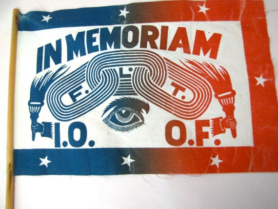 Vintage Odd Fellows Memoriam Memorial Flag IOOF Fraternal Order Secret Society