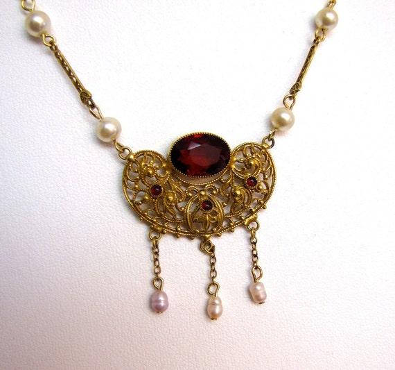Vintage Edwardian Necklace Glass Garnets Pearls gold plate filigree