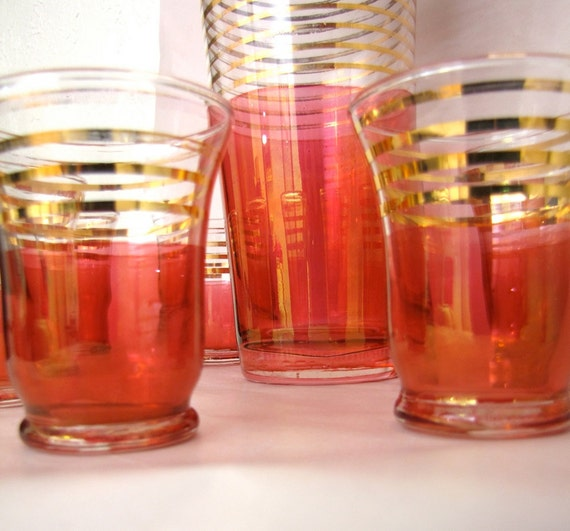 Vintage Pink Cocktail Shaker and Glasses set Art Deco 1930s Gatsby
