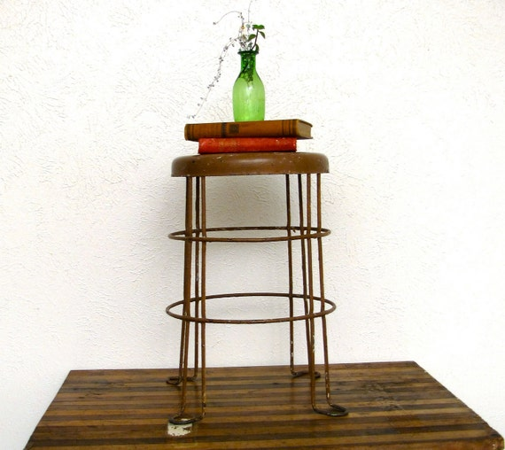 Industrial Shop Stool Vintage Chair Seating 1940s Brown wire cage frame workbench