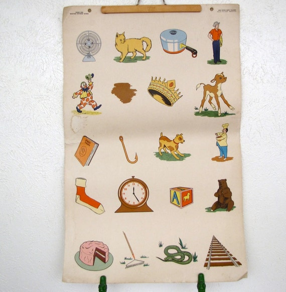 Vintage 3ft by 2ft School House Flash Card 1950s Cute childrens room decor print poster