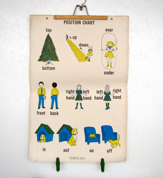 Vintage 36 by 24 School House Flash Card 1950s Cute childrens room decor print poster Yellow Blue Green