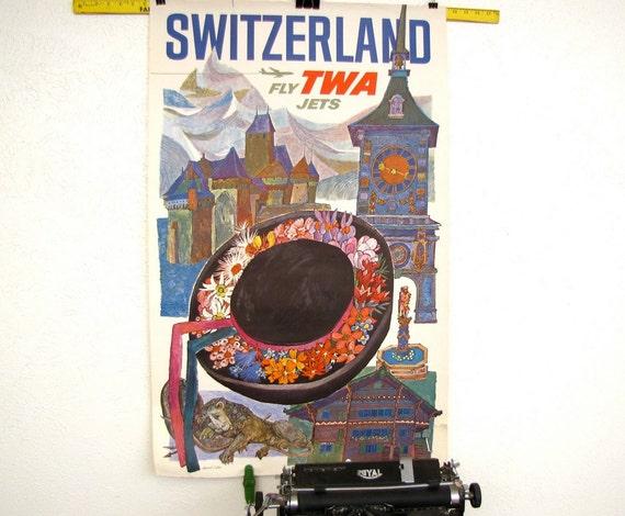 RESERVED Vintage 60s TWA Switzerland travel poster original printed in usa Mad Men Era David Klein