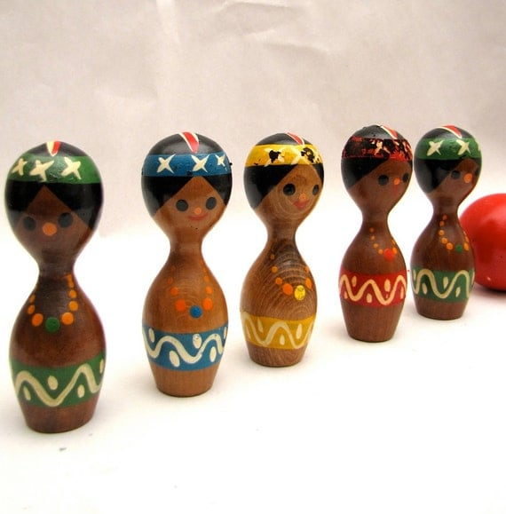 Vintage Mid Century Hand painted indian club bowling pins toy