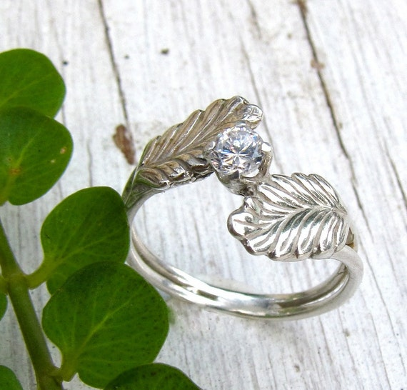 Feather Leaf Engagement Ring Sterling Silver By Austinmodern