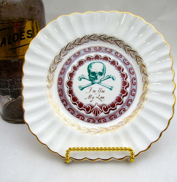 Poison Plate Victorian Halloween Skull and Cross Bones For you my love Chase and Scout Altered wall plate