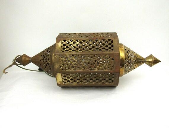 Vintage Moroccan Pierced Brass Swag lamp Hollywood Regency Glam hanging light chandelier