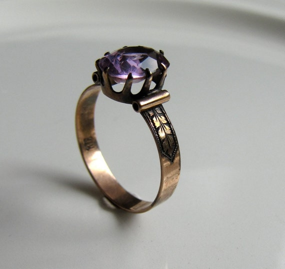 Victorian Amethyst ring solid rose gold 10kt size 7 Antique fixer