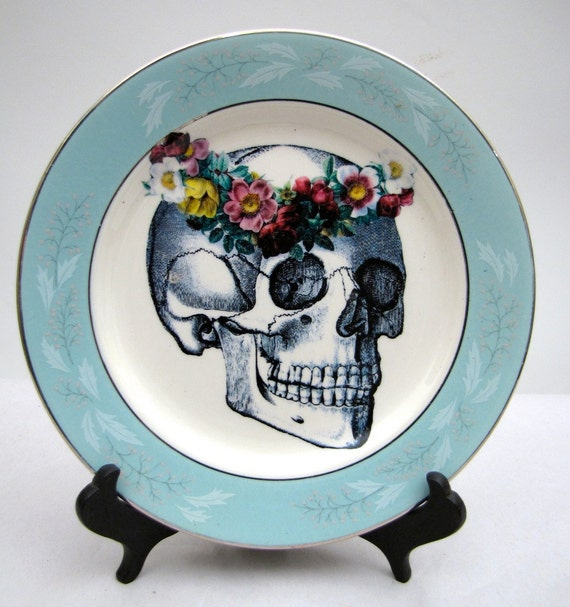 Altered vintage Plate May Queen Day of the Dead Skull Halloween