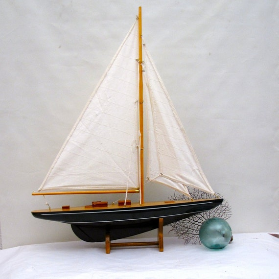 Vintage large sail boat Yacht Tall Ship Nautical Beach House home decor