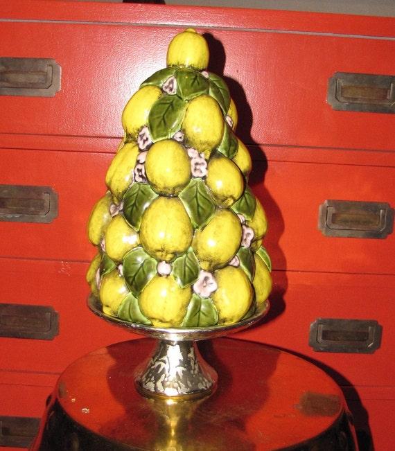 Lemon Tree Mid Century Italian Ceramic Centerpiece Or Side