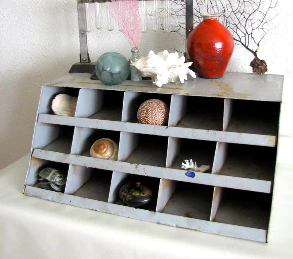 Industrial Metal Parts Cabinet Bin Storage Cubby Hole Desk Top