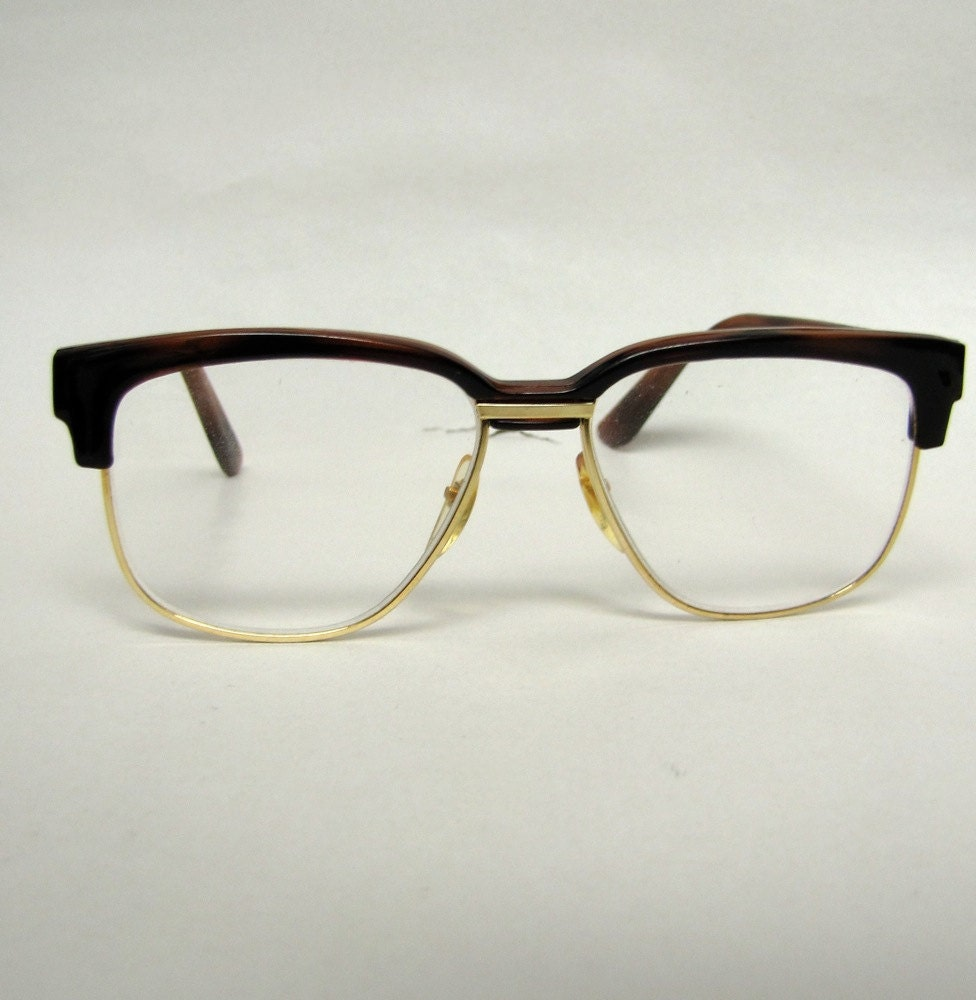 70s Horn Rim Glasses Wire Frame Gold And Brown Nerdy Chic Tart
