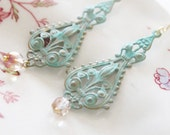 """Verdigris Earrings... """"Every Flower Stares and Watches"""""""