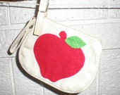 SALE - Coin Purse with Red Felt Apple and Green Leaf
