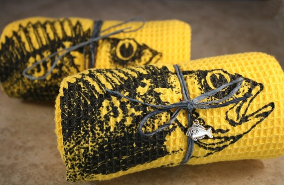 Two Yellow Organic Rock Fish Printed Teatowels with fish charm