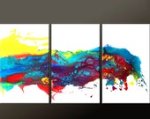 3pc Abstract Canvas Art Painting - 5ft Contemporary Original Modern Art by Destiny Womack - dWo - A Wave of Emotion