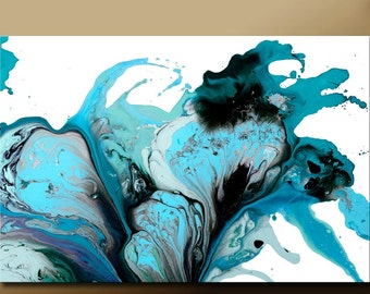 Large Abstract Art Print Turquoise Teal Aqua & Black Contemporary Wall Art  by Destiny Womack - Pure Emotion - dWo