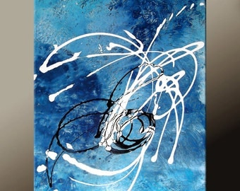 Blue & White Abstract Art - 18x24 Contemporary Modern Original Canvas Art Painting by Destiny Womack - dWo - Ripples in The Pond ON SALE