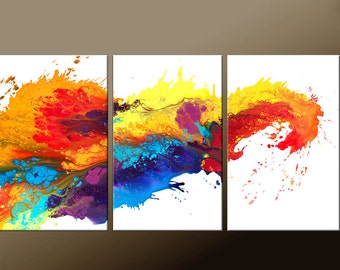 ABSTRACT Art Painting - Huge 3pc Original Custom Made to Order Modern Contemporary Fine Art Painting by Destiny Womack - dWo - 72x36