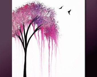 Abstract Tree Art Painting on Canvas 18x24  Original Modern Contemporary Art by Destiny Womack  MADE TO ORDER - dWo - When it Rains