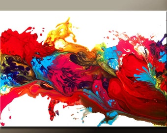 """Abstract Art Print 19"""" Contemporary Rainbow Wall Art Prints by Destiny Womack  - dWo - The Journey to Heaven"""