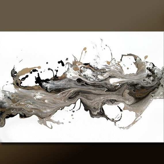FREE SHIPPING - Original ABSTRACT Modern Contemporary Fine ART Painting by dWo - LARGE 36x24 - MEMORIES